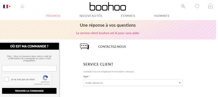 Formulaire en ligne Boohoo