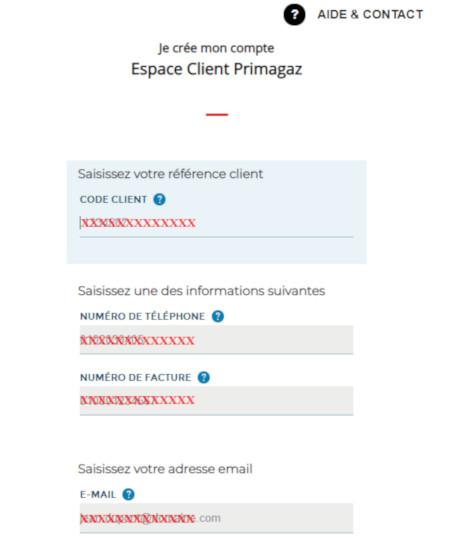 Inscription nouveau contact
