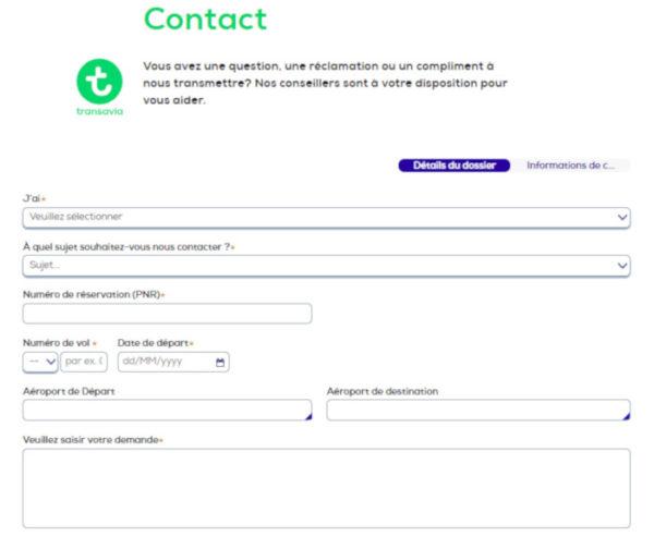 Formulaire contact en ligne Transavia