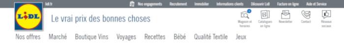 Site de l'enseigne Lidl.fr