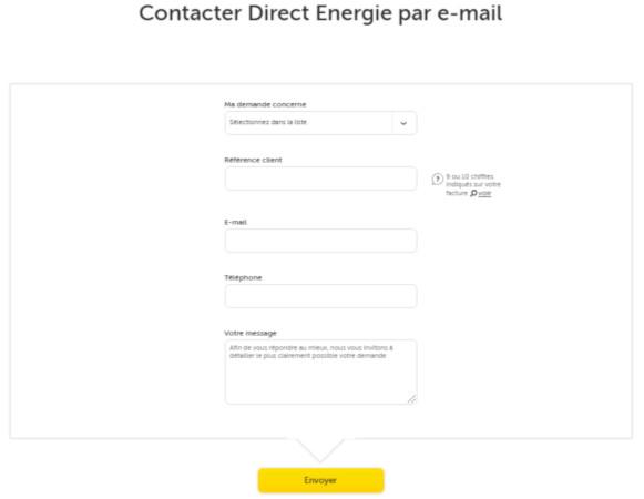 envoyer un email Direct energie