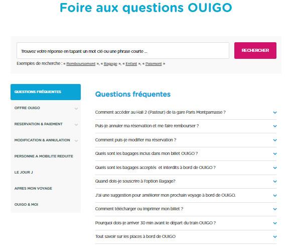 Foire aux questions Ouigo.com